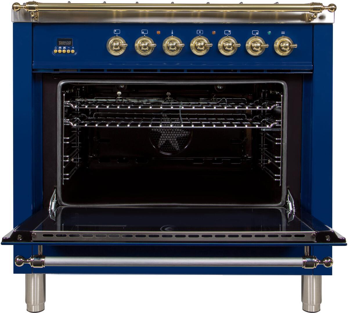 Ilve Nostalgie UPN90FDMPBL Freestanding Dual Fuel Range Blue, ILVE UPN90FDMPBL Range open door