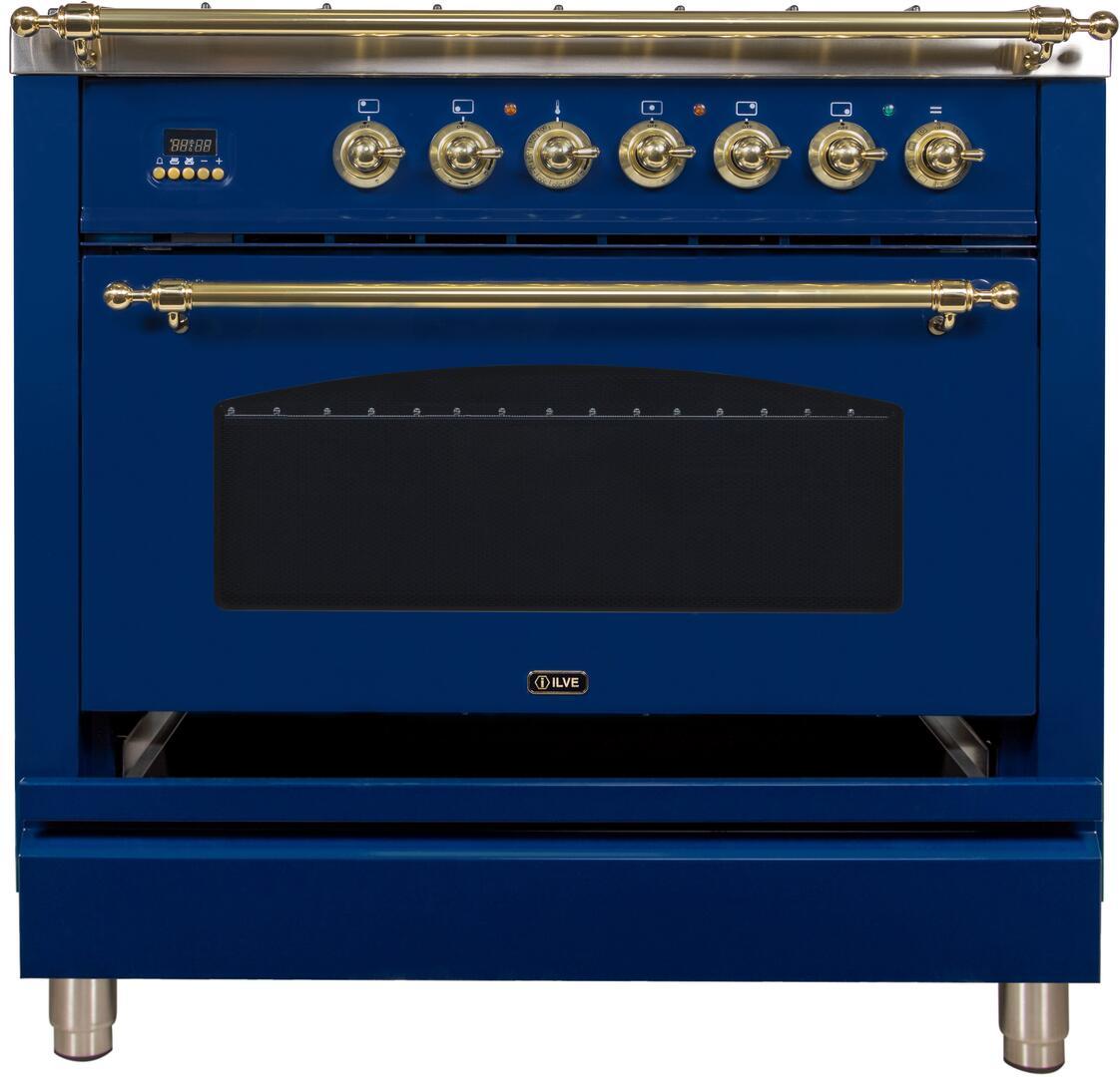 Ilve Nostalgie UPN90FDMPBL Freestanding Dual Fuel Range Blue, ILVE UPN90FDMPBL Range Open Draw