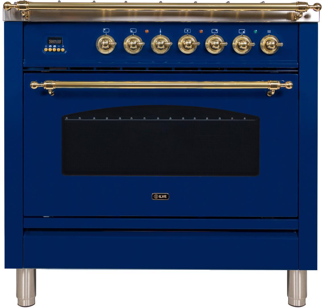 Ilve Nostalgie UPN90FDMPBL Freestanding Dual Fuel Range Blue, Ilve UPN90FDMPBL Range Front
