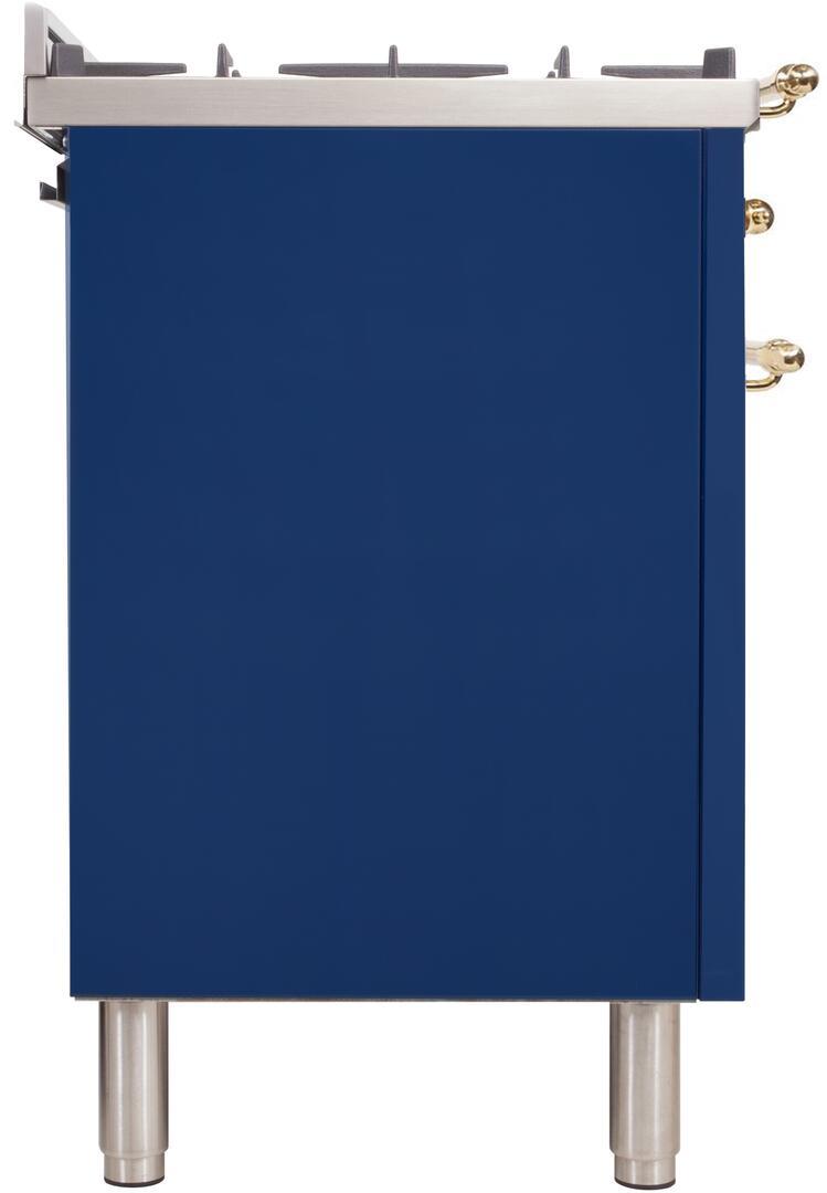 Ilve Nostalgie UPN90FDMPBL Freestanding Dual Fuel Range Blue, uis image