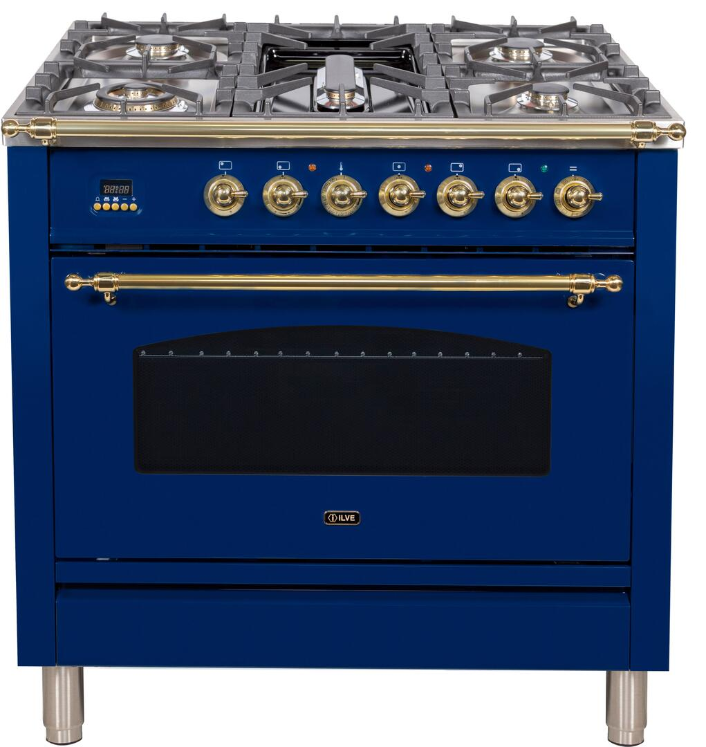 Ilve Nostalgie UPN90FDMPBL Freestanding Dual Fuel Range Blue, ILVE UPN90FDMPBL Range Top