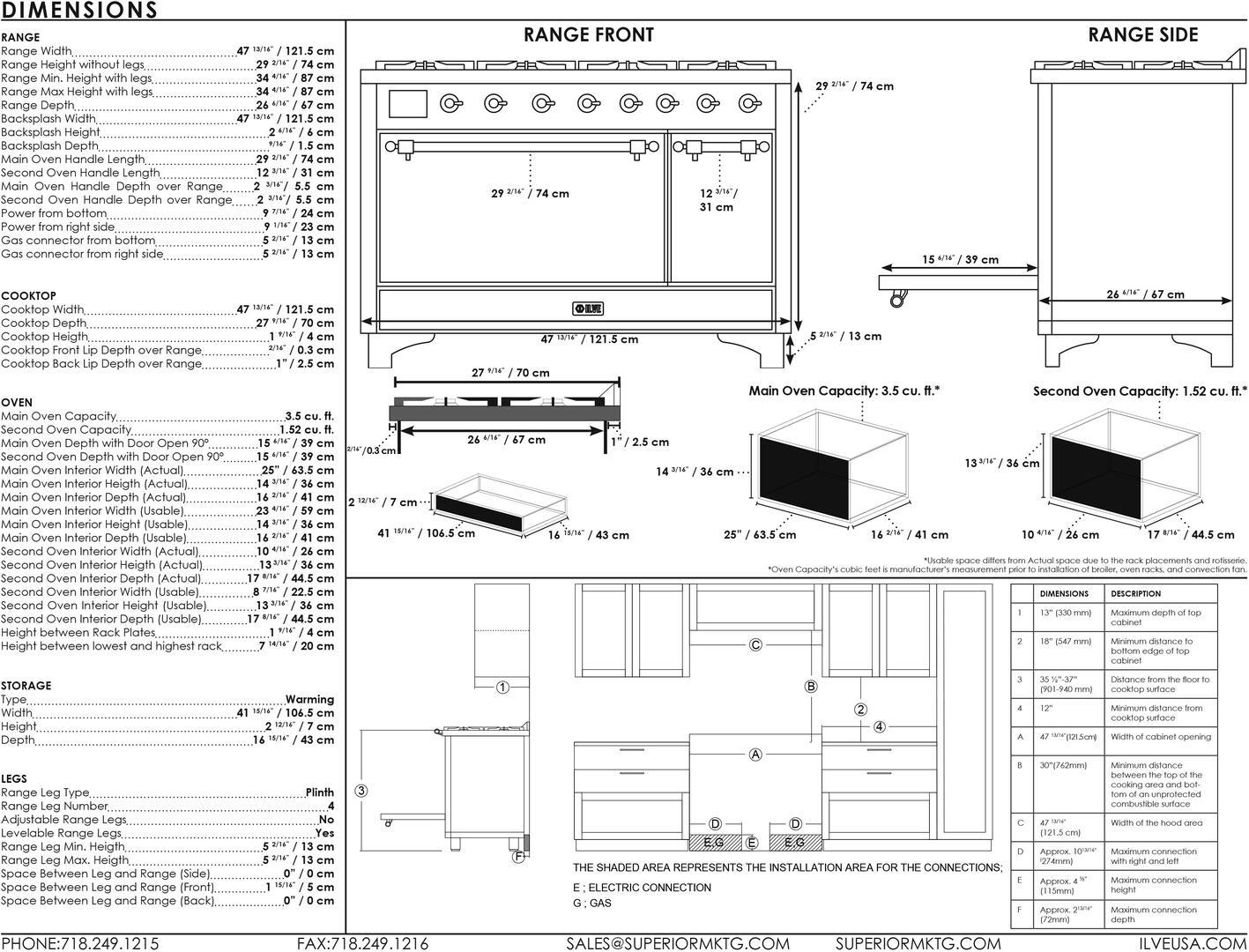 Ilve Majestic II UM12FDQNS3SSPLP Freestanding Dual Fuel Range Stainless Steel, UM12FDQ-Dimensions