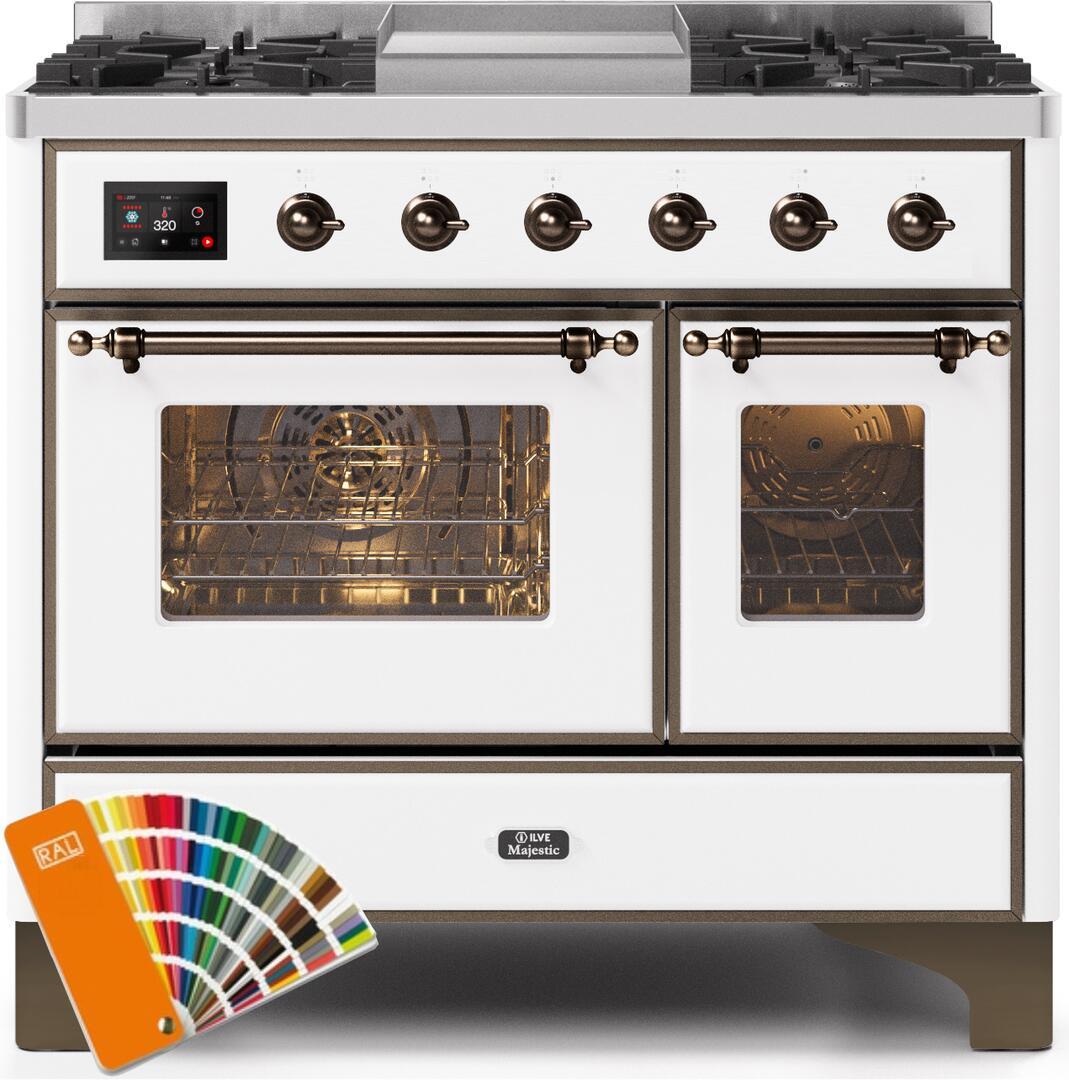 Ilve Majestic II UMD10FDNS3RALBLP Freestanding Dual Fuel Range Custom Color, UMD10FDNS3RALBLP-Front-CD-A
