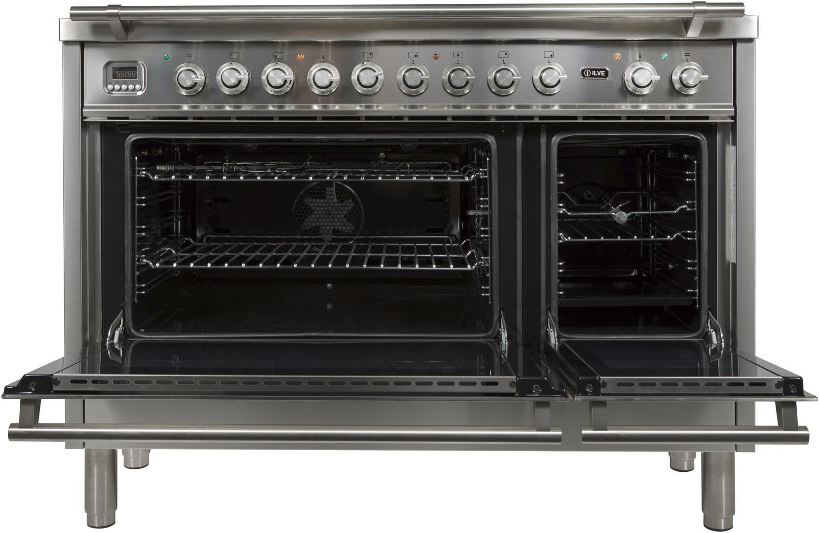 Ilve Professional Plus UPW120FDMPILP Freestanding Dual Fuel Range Stainless Steel, UPW120FDMPILP Oven Doors Opened