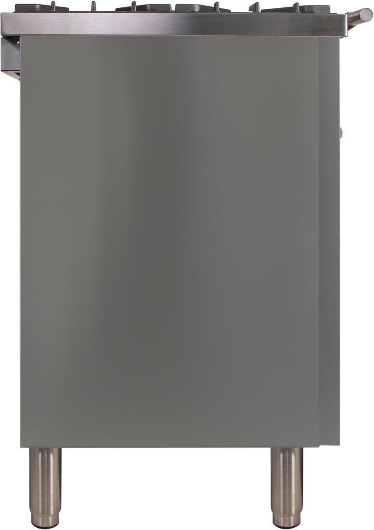 Ilve Professional Plus UPW120FDMPILP Freestanding Dual Fuel Range Stainless Steel, UPW120FDMPILP Side View 2