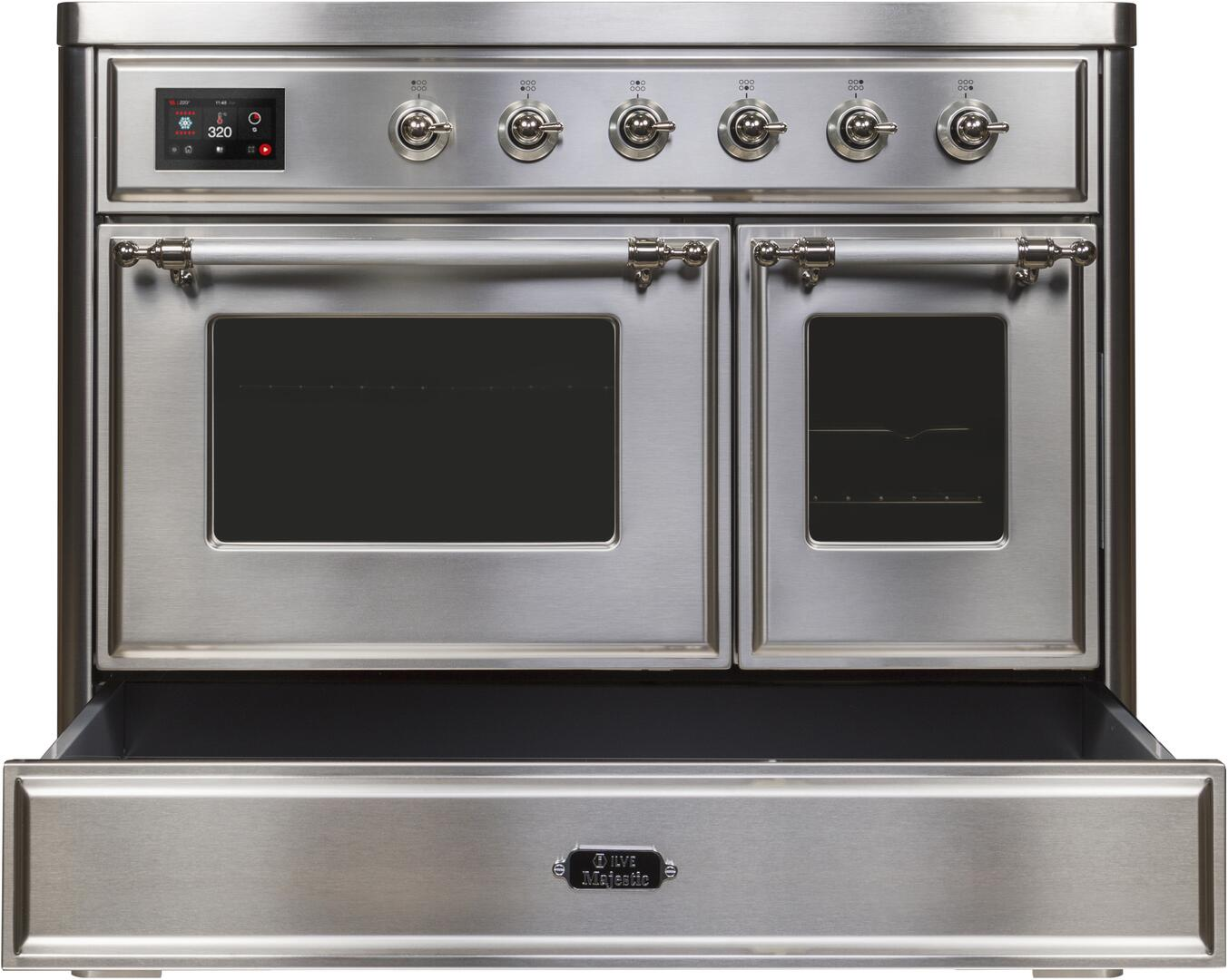 Ilve Majestic II UMDI10NS3SSC Freestanding Electric Range Stainless Steel, UMDI10NS3SSC-Front-CD-OS