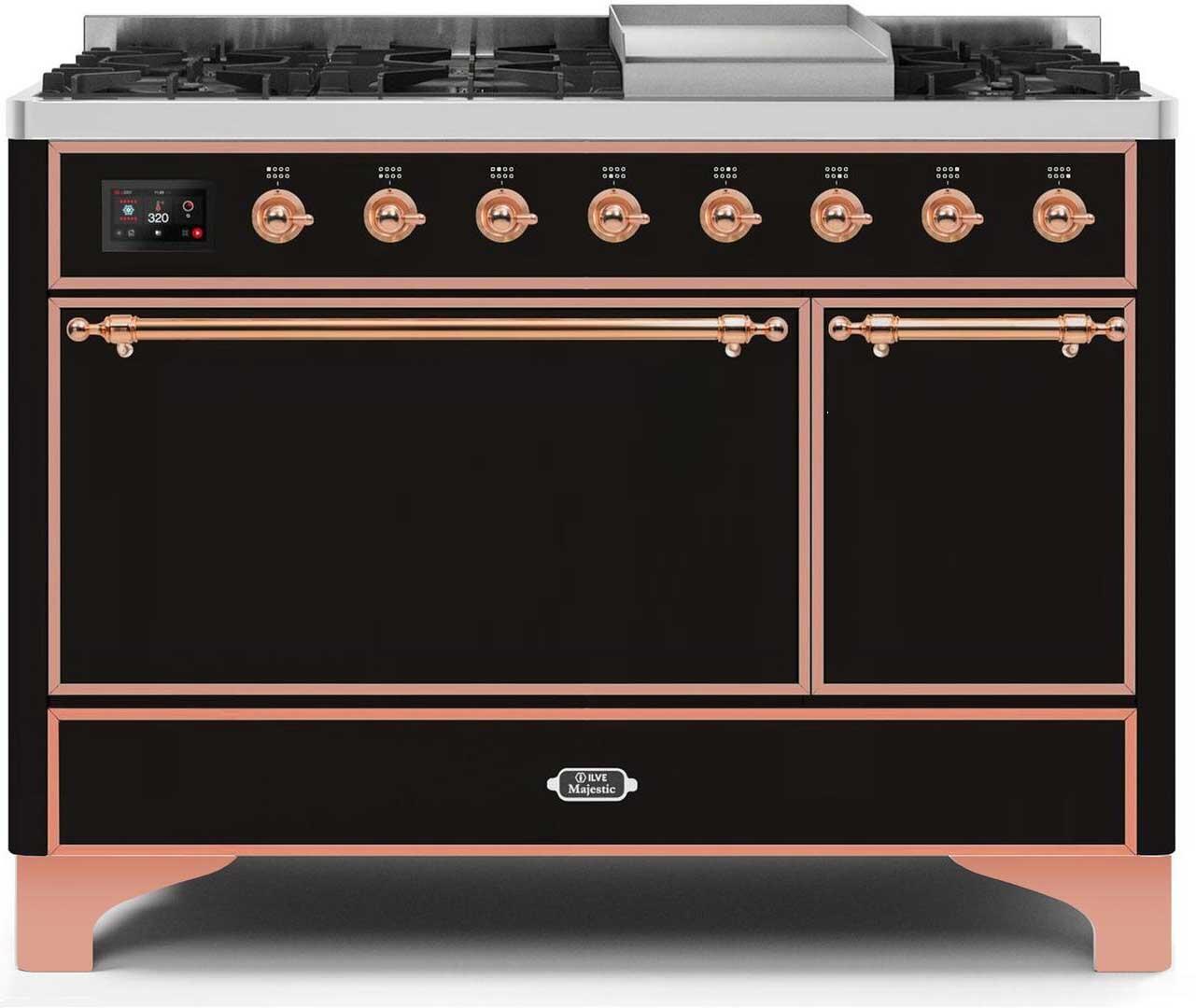Ilve Majestic II UM12FDQNS3BKPLP Freestanding Dual Fuel Range Black, UM12FDQNS3BKPLP-Front-CD-A