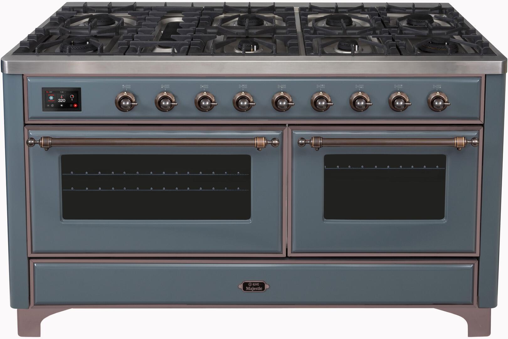 Ilve Majestic II UM15FDNS3BGB Freestanding Dual Fuel Range , Blue Grey Dual Fuel Range