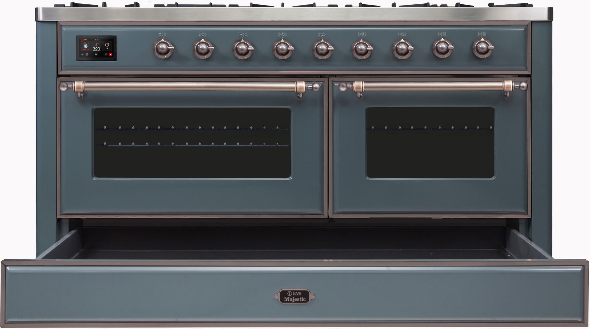 Ilve Majestic II UM15FDNS3BGBLP Freestanding Dual Fuel Range , UM15FDNS3GUBLP-Front-CD-OS