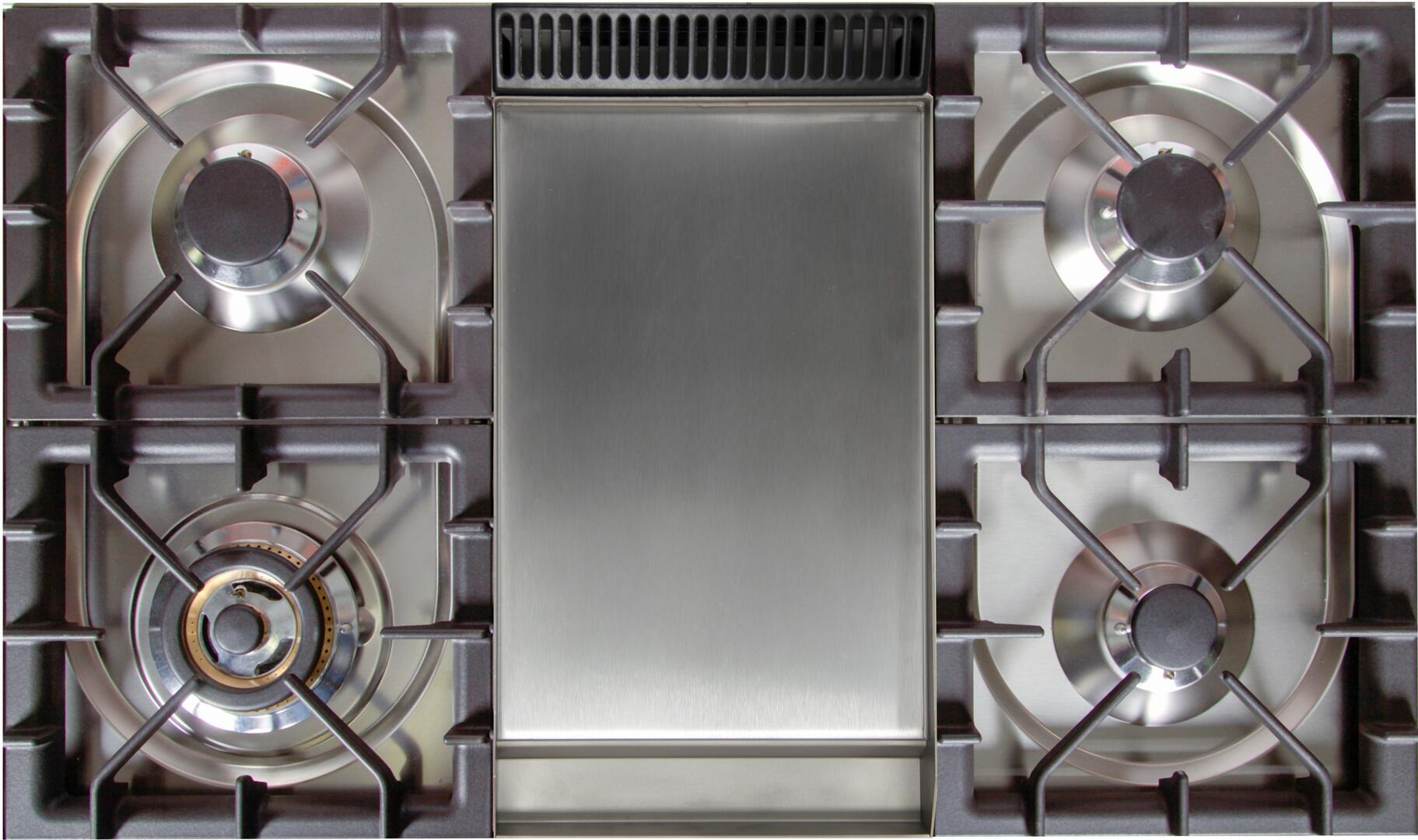 Ilve Professional Plus UPW90FDMPI Freestanding Dual Fuel Range Stainless Steel, Cooktop