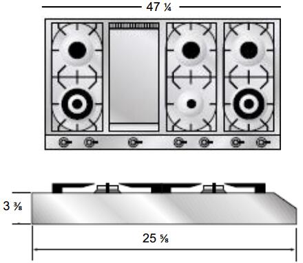 Ilve  UHP1265FDI Gas Cooktop Stainless Steel, Dimensions Diagram