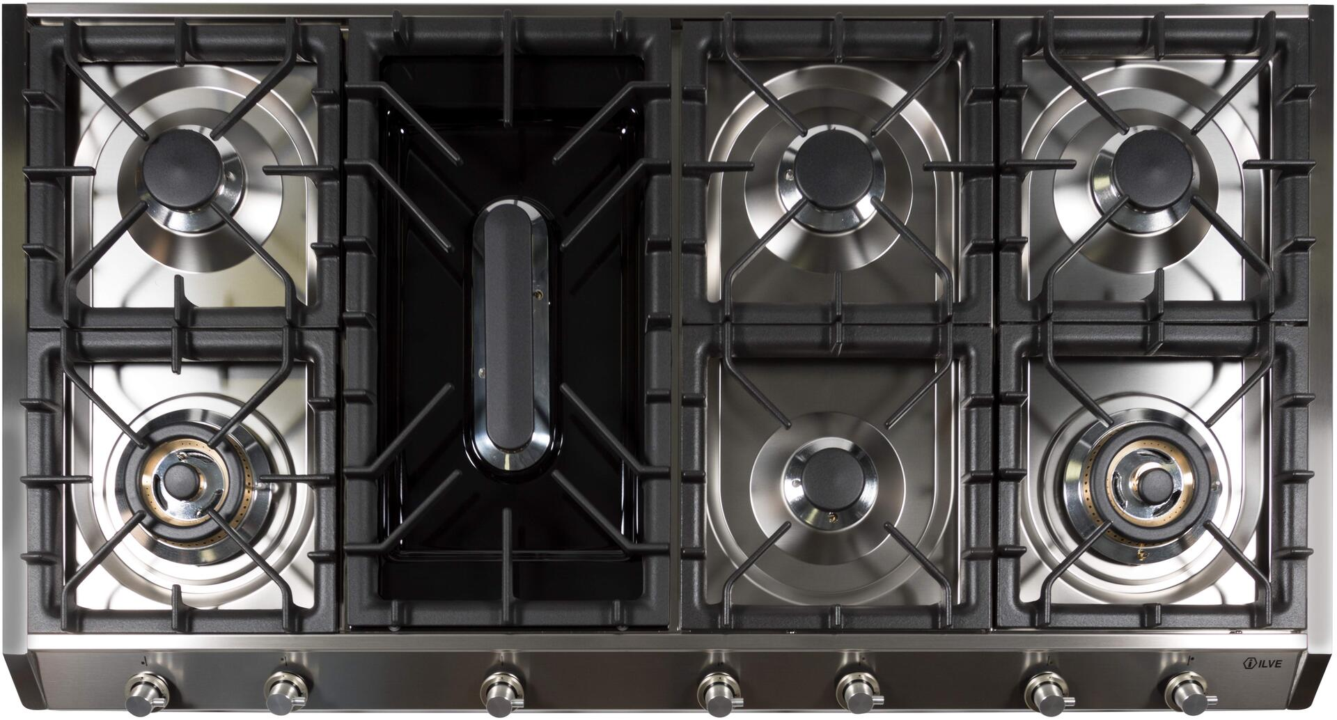 Ilve  UHP1265FDI Gas Cooktop Stainless Steel, UHP1265FDI Cooktop without Griddle
