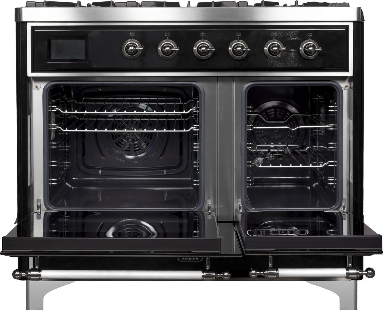 Ilve Majestic II UMD10FDNS3BKCLP Freestanding Dual Fuel Range Black, UMD10FDNS3BKC Oven Doors Opened