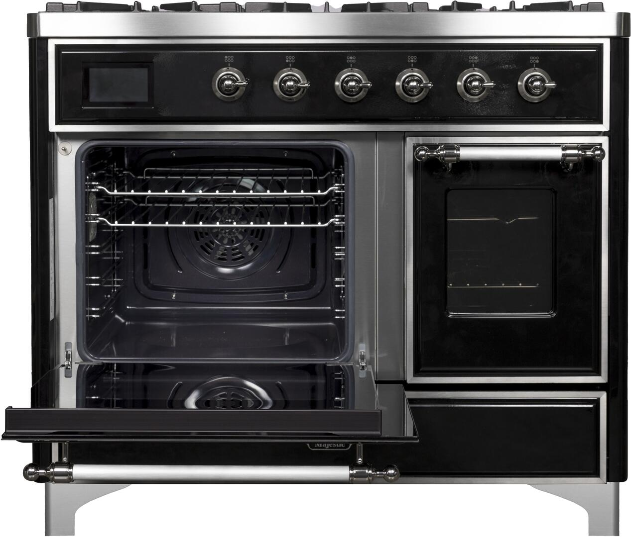 Ilve Majestic II UMD10FDNS3BKCLP Freestanding Dual Fuel Range Black, UMD10FDNS3BKC Main Oven Door Opened