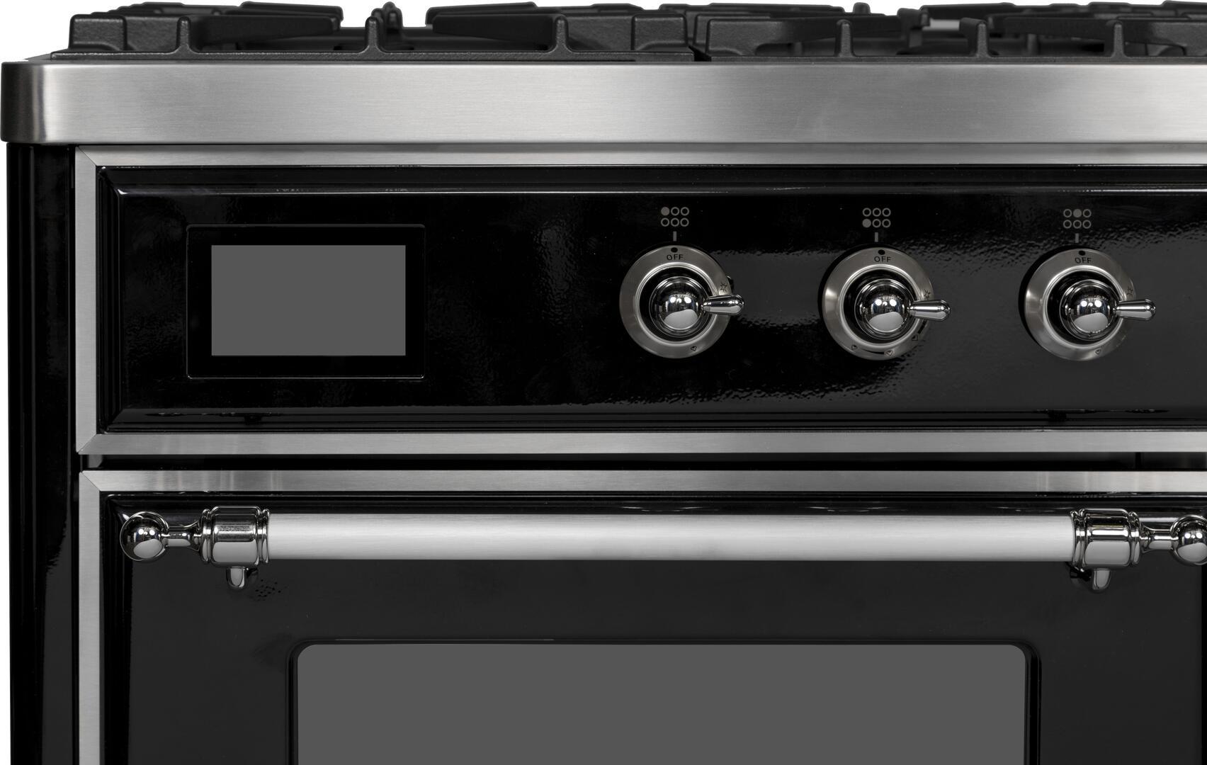 Ilve Majestic II UMD10FDNS3BKCLP Freestanding Dual Fuel Range Black, UMD10FDNS3BKC Close Up Details