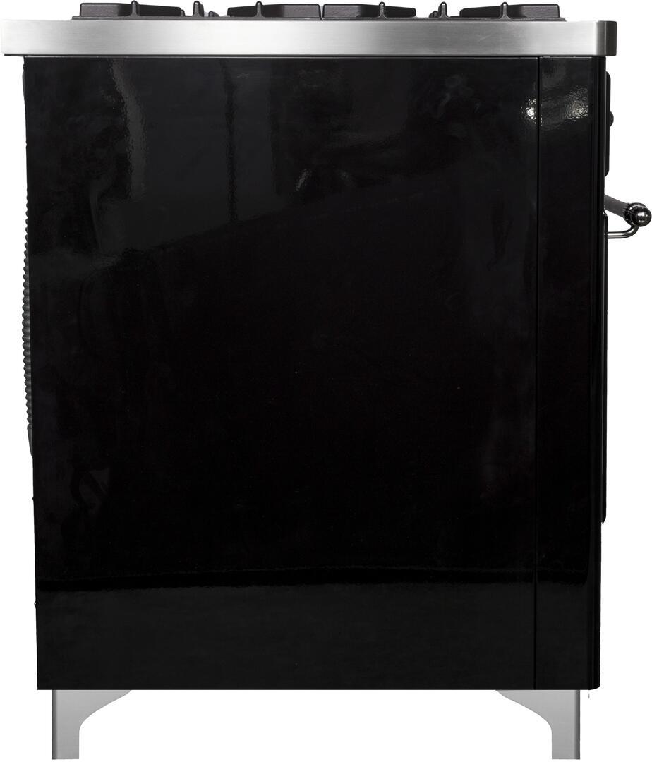 Ilve Majestic II UMD10FDNS3BKCLP Freestanding Dual Fuel Range Black, UMD10FDNS3BKC SIde View