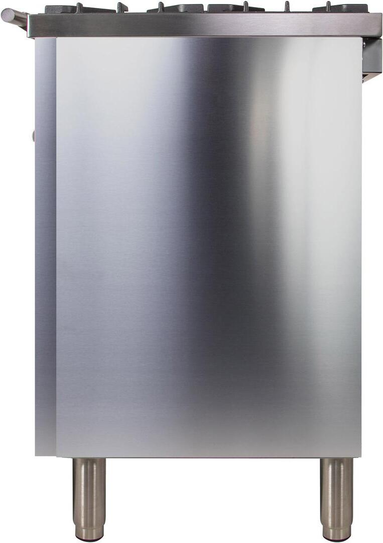 Ilve Professional Plus UPW90FDMPI Freestanding Dual Fuel Range Stainless Steel, UPW90FDMPILP Side View 2