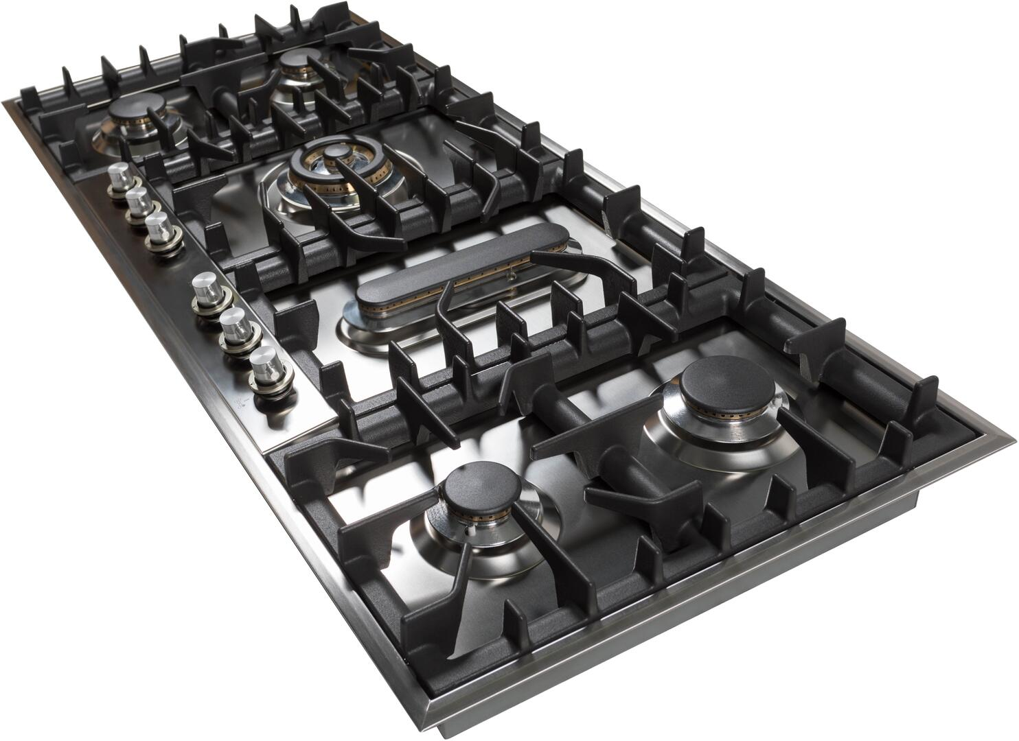 Ilve  UHP125FCI Gas Cooktop Stainless Steel, UHP125FCI Angled View