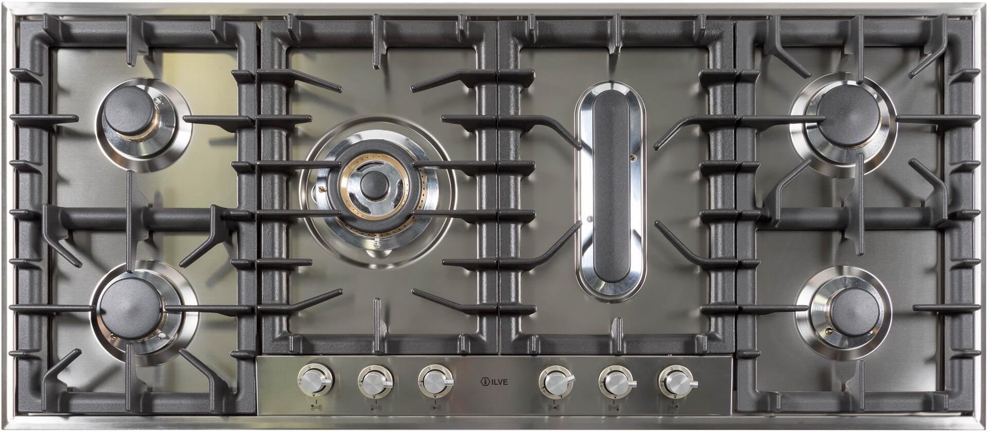 Ilve  UHP125FCI Gas Cooktop Stainless Steel, UHP125FCI Cooktop without Griddle