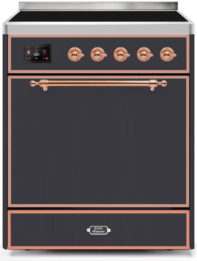 Ilve Majestic II UMI30QNE3MGP Freestanding Electric Range Graphite, UMI30QNE3MGP-Front-CD-A