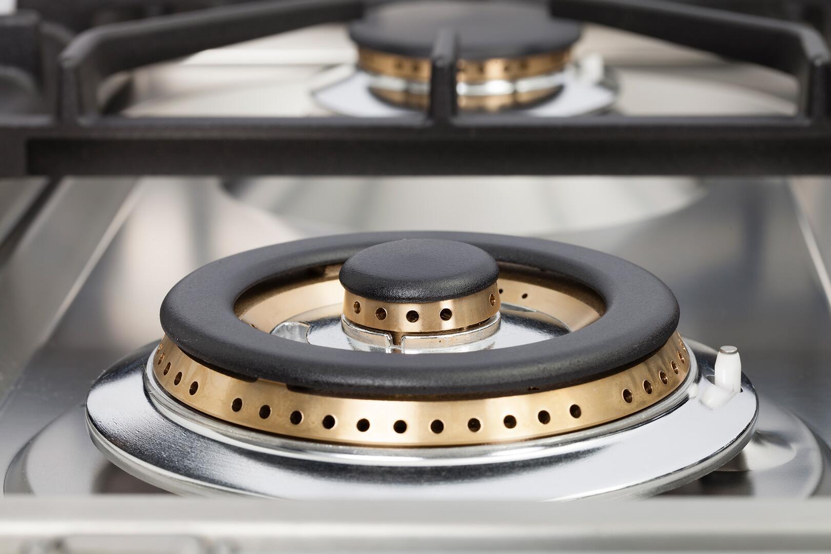 Ilve Professional Plus UPDW100FDMPMLP Freestanding Dual Fuel Range Gray, Burner Details View