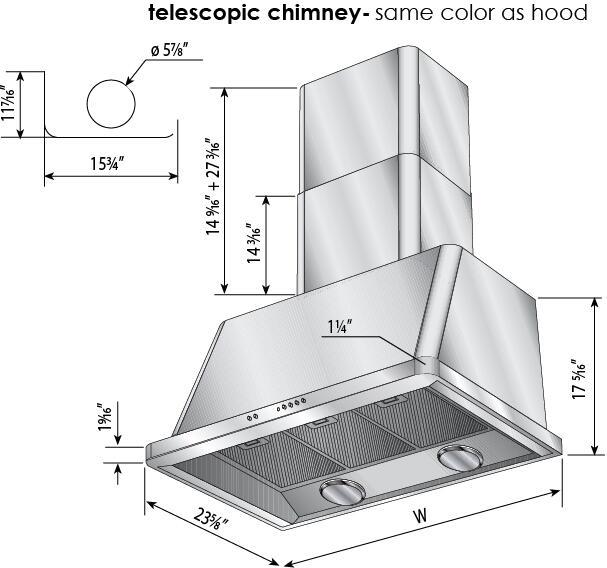 Ilve Majestic UAM100I Wall Mount Range Hood Stainless Steel, Diagram