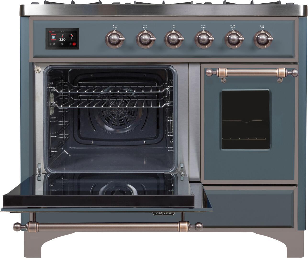 Ilve Majestic II UMD10FDNS3BGBLP Freestanding Dual Fuel Range , UMD10FDNS3GUB Main Oven Door Opened