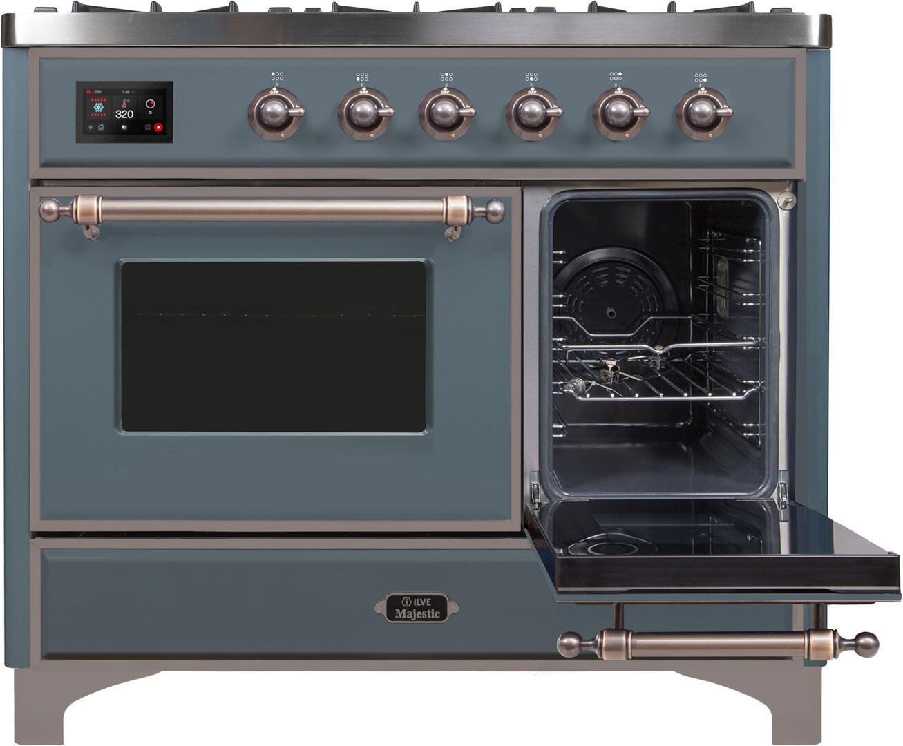 Ilve Majestic II UMD10FDNS3BGBLP Freestanding Dual Fuel Range , UMD10FDNS3GUB Side Oven Door Opened
