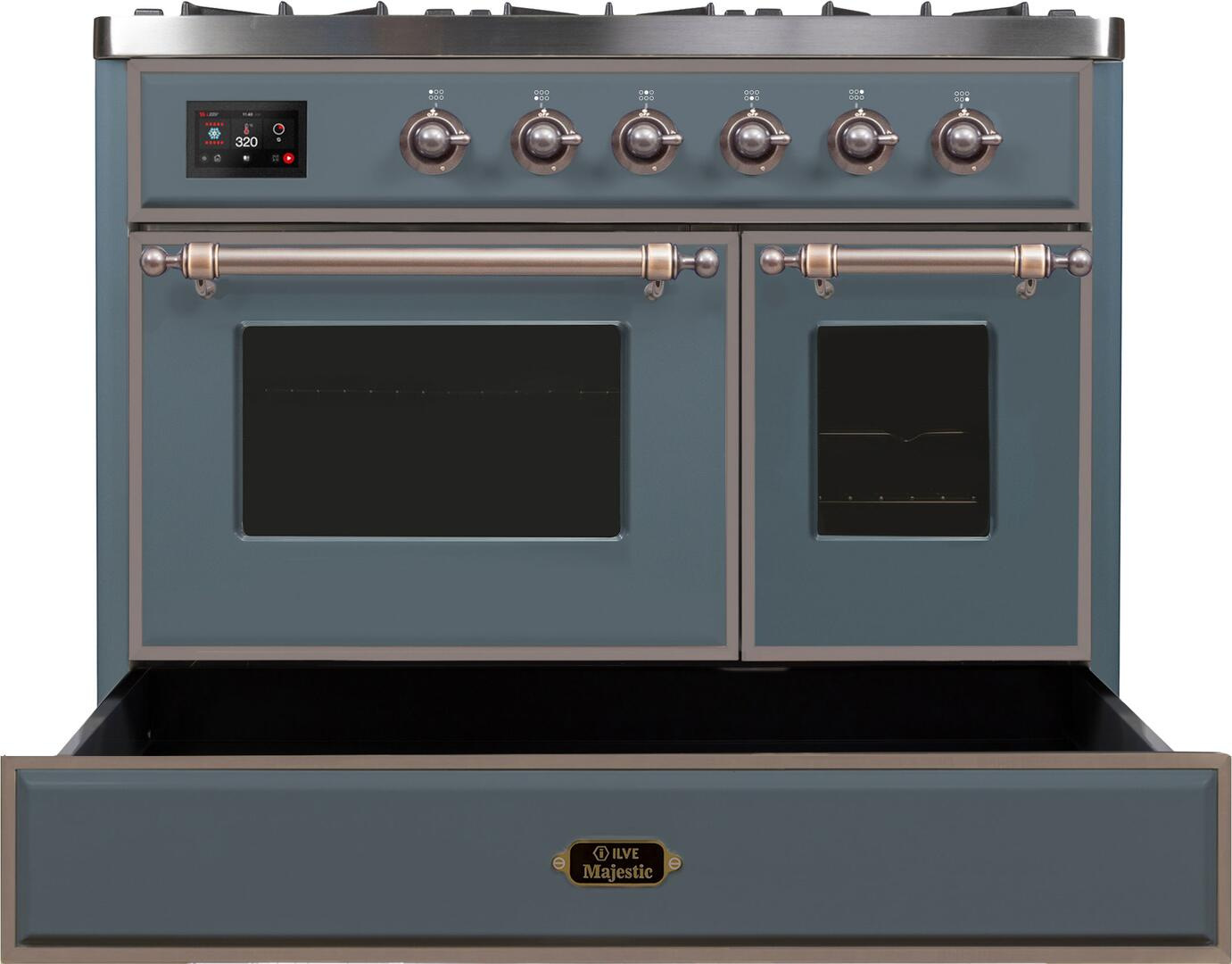 Ilve Majestic II UMD10FDNS3BGBLP Freestanding Dual Fuel Range , UMD10FDNS3GUB Warming Drawer