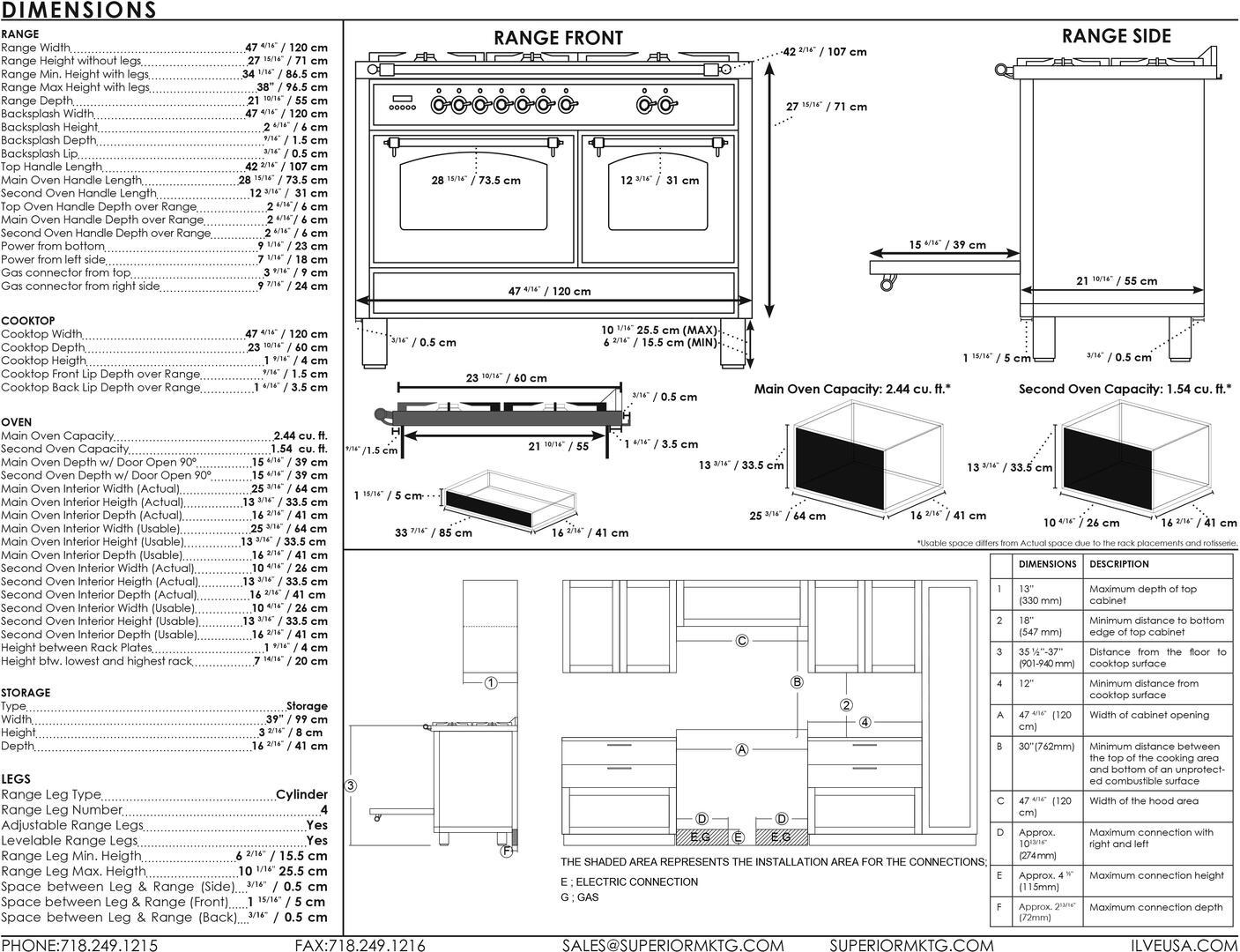 Ilve Professional Plus UPW120FDMPM Freestanding Dual Fuel Range Gray, UPDW120FDM Dimensions Guide