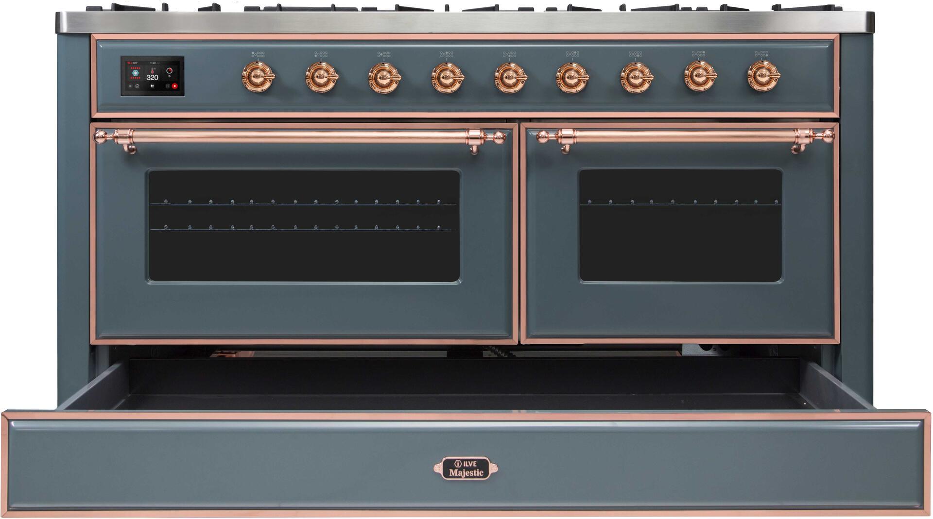 Ilve Majestic II UM15FDNS3BGP Freestanding Dual Fuel Range , UM15FDNS3GUP-Front-CD-OS