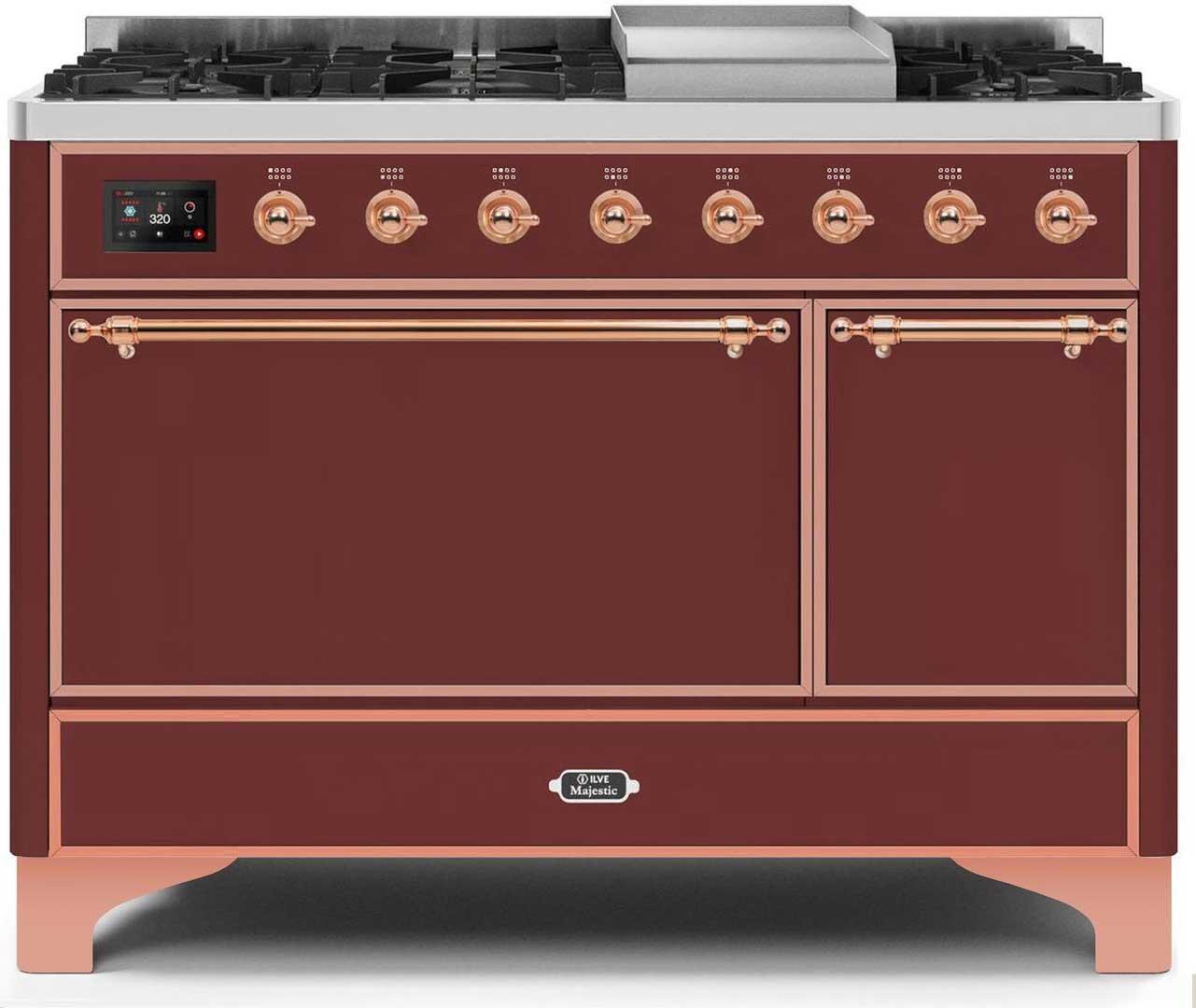 Ilve Majestic II UM12FDQNS3BUPLP Freestanding Dual Fuel Range Red, UM12FDQNS3BUPLP-Front-CD-A
