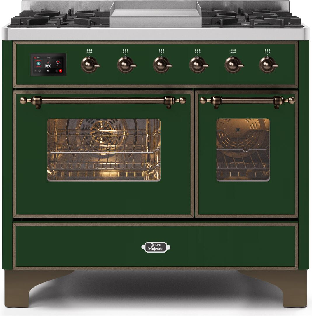 Ilve Majestic II UMD10FDNS3EGB Freestanding Dual Fuel Range Green, UMD10FDNS3EGBNG-Front-CD-A