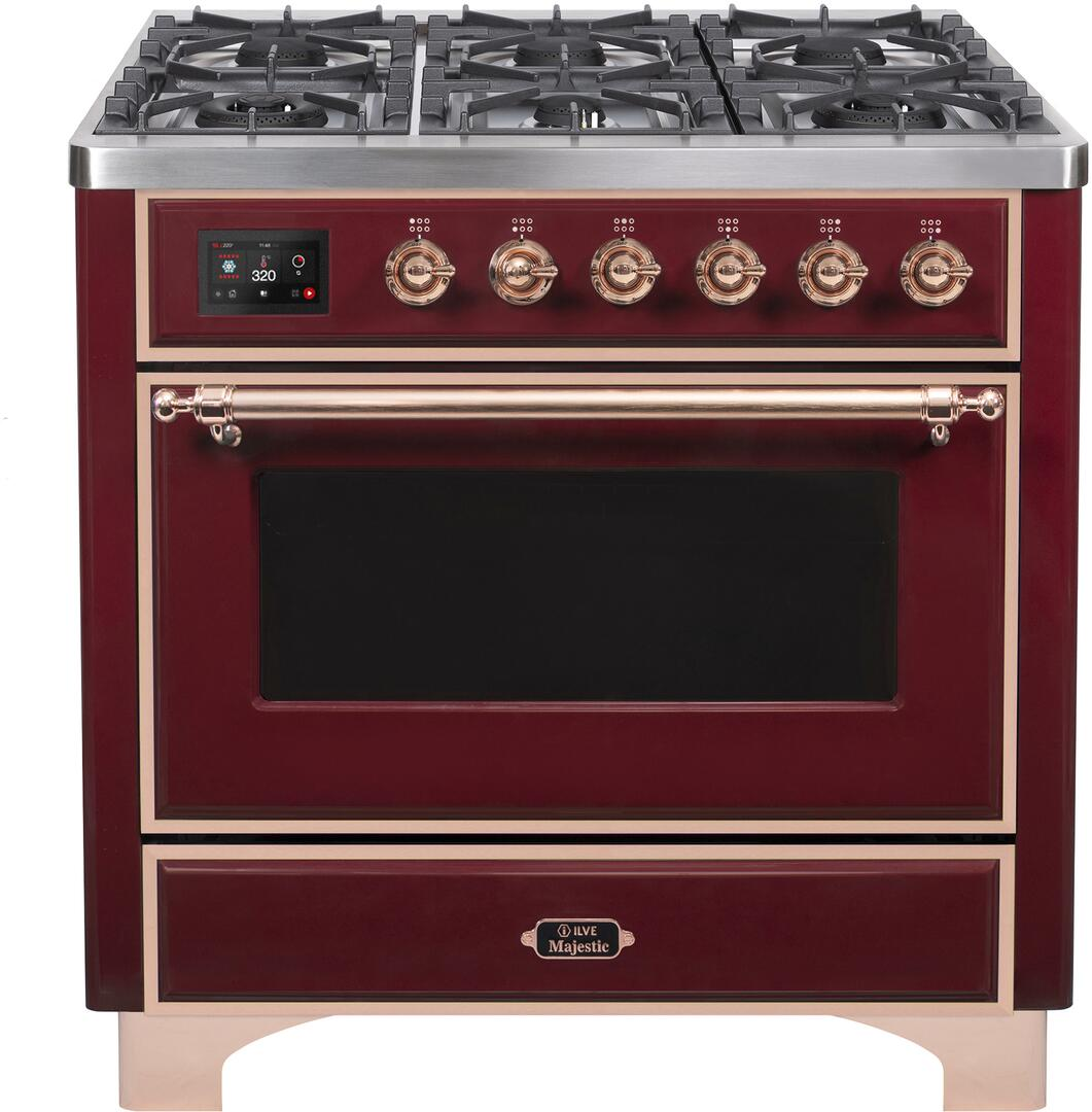 Ilve Majestic II UM096DNS3BUP Freestanding Dual Fuel Range Red, UM096DNS3BUPNG-Front-CD-A