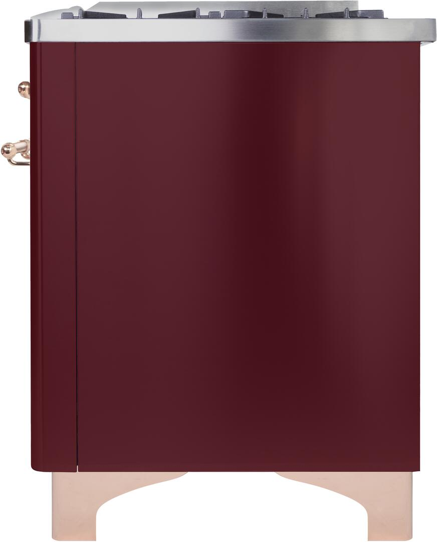 Ilve Majestic II UM096DNS3BUP Freestanding Dual Fuel Range Red, UM096DNS3BUPNG-Right-CD
