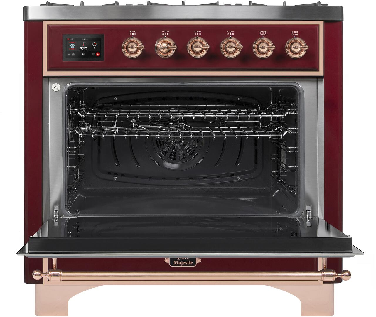 Ilve Majestic II UM096DNS3BUP Freestanding Dual Fuel Range Red, UM096DNS3BUPNG-Front-OD