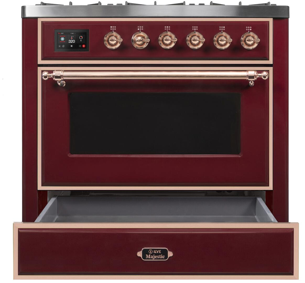 Ilve Majestic II UM096DNS3BUP Freestanding Dual Fuel Range Red, UM096DNS3BUPNG-Front-CD-OS