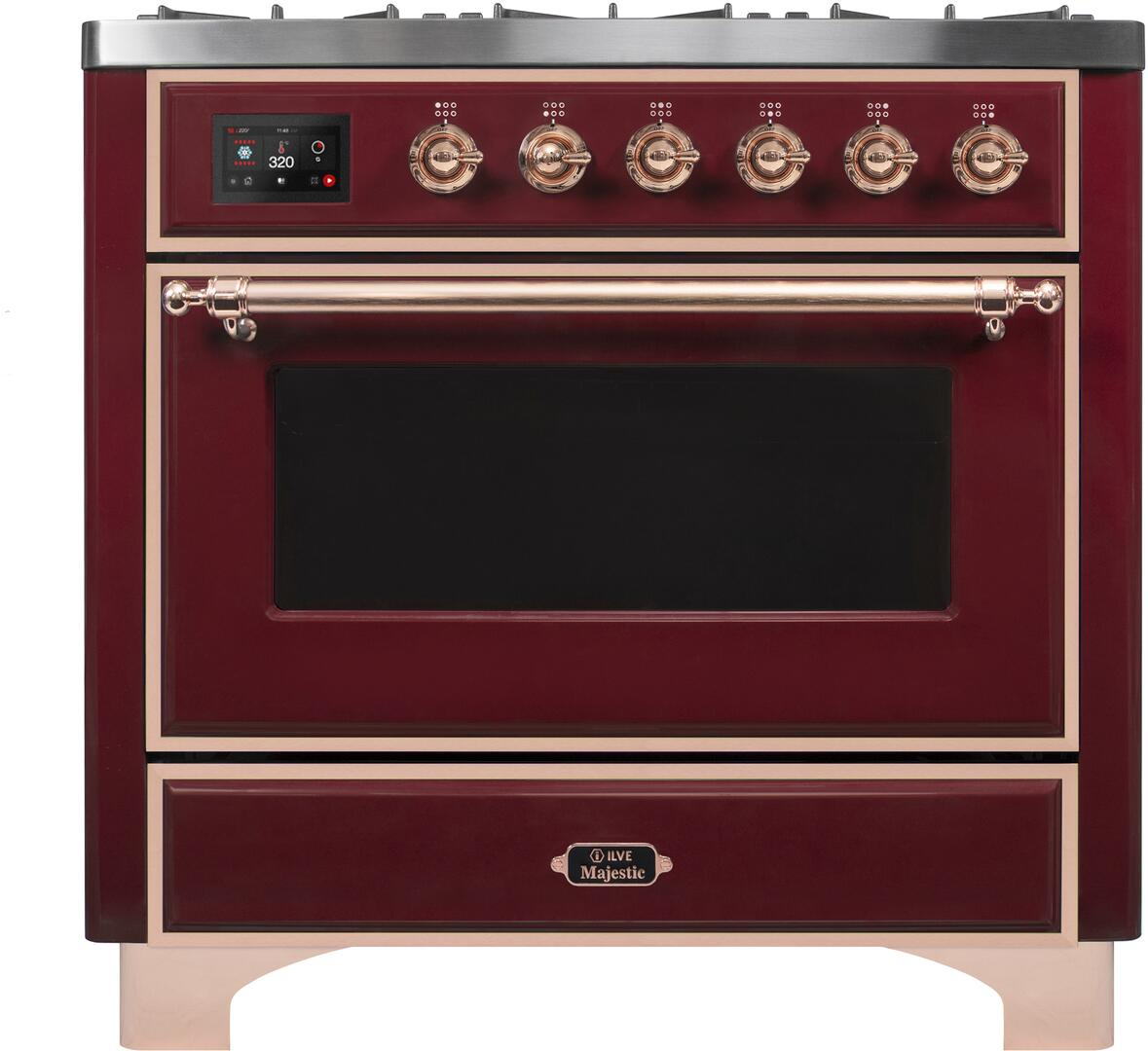 Ilve Majestic II UM096DNS3BUP Freestanding Dual Fuel Range Red, UM096DNS3BUPNG-Front-CD