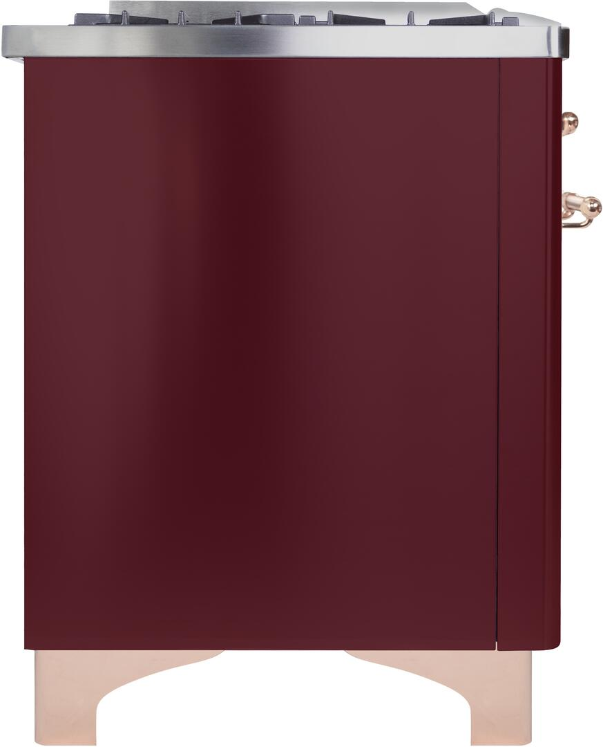 Ilve Majestic II UM096DNS3BUP Freestanding Dual Fuel Range Red, UM096DNS3BUPNG-Left-CD