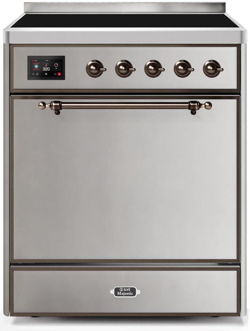 Ilve Majestic II UMI30QNE3SSB Freestanding Electric Range Stainless Steel, UMI30QNE3SSB-Front-CD-A