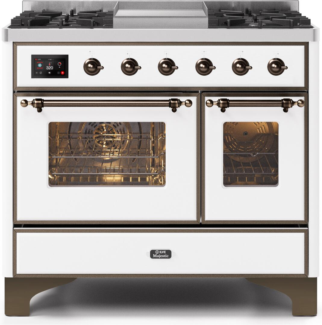Ilve Majestic II UMD10FDNS3WHB Freestanding Dual Fuel Range White, UMD10FDNS3WHBNG-Front-CD-A
