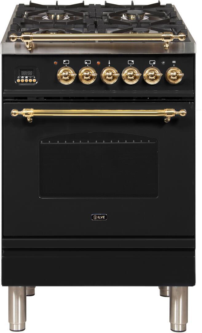 Ilve Nostalgie UPN60DMPN Freestanding Dual Fuel Range Black, ilve UPN60DMPN range top