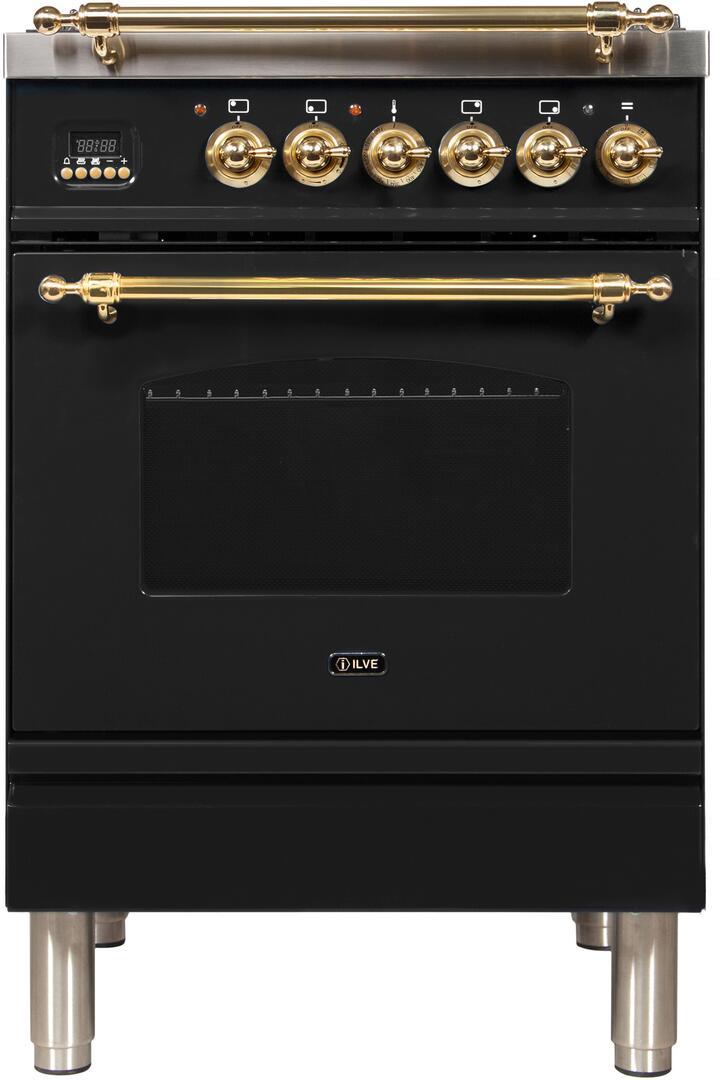 Ilve Nostalgie UPN60DMPN Freestanding Dual Fuel Range Black, ilve UPN60DMPN range front