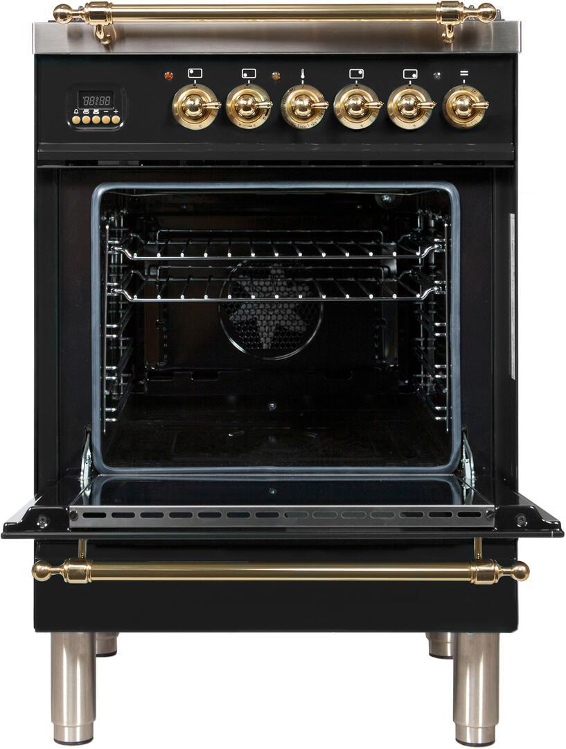 Ilve Nostalgie UPN60DMPN Freestanding Dual Fuel Range Black, ilve UPN60DMPN range open door