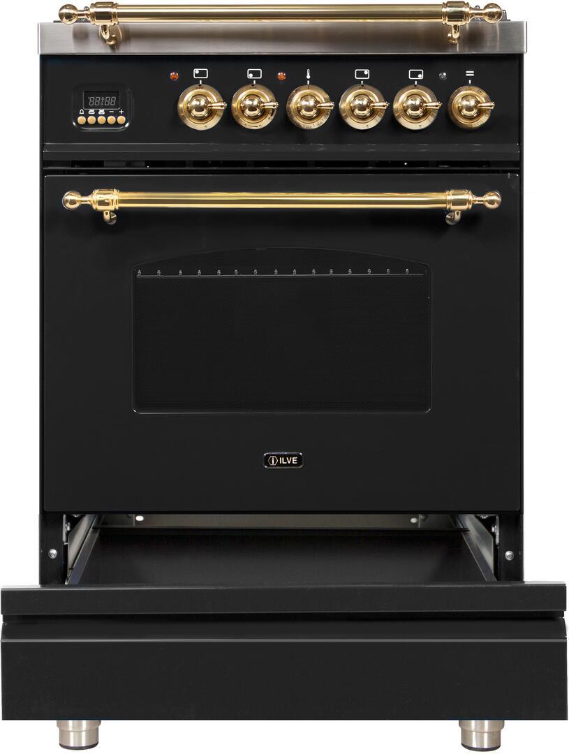 Ilve Nostalgie UPN60DMPN Freestanding Dual Fuel Range Black, ilve UPN60DMPN range open storage