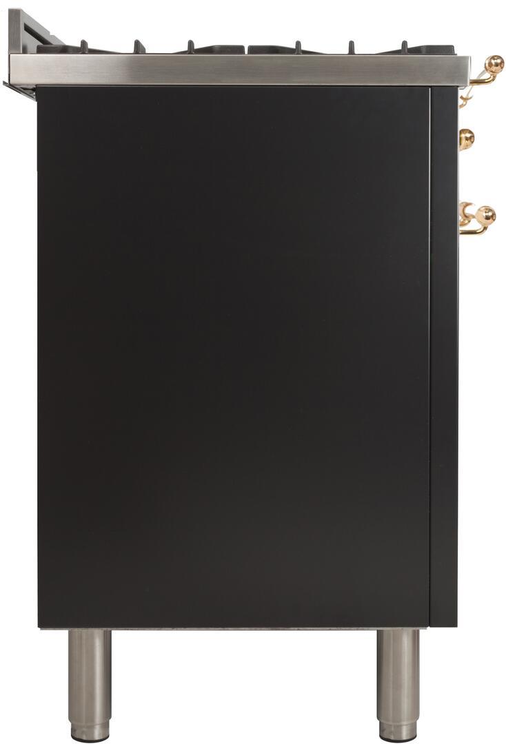 Ilve Nostalgie UPN60DMPN Freestanding Dual Fuel Range Black, ILVE UPN120FDMPMLP Range Side Right