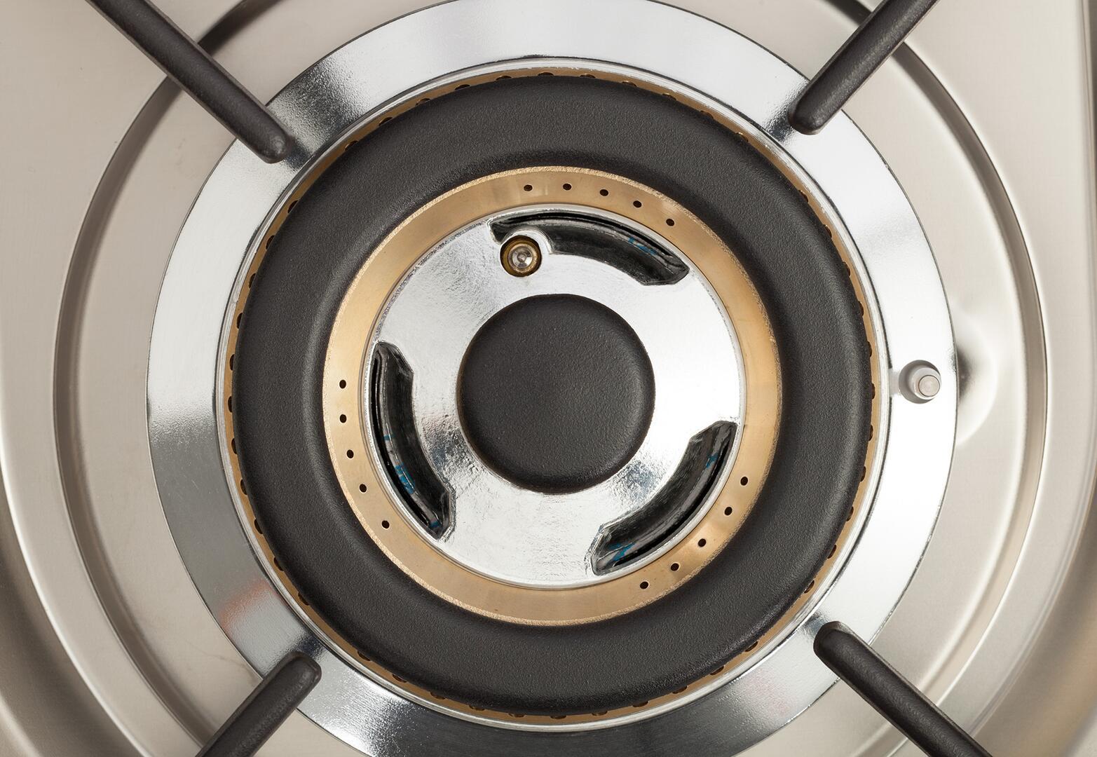 Ilve Nostalgie UPN90FDMPBL Freestanding Dual Fuel Range Blue, Triple Ring Buner Top View