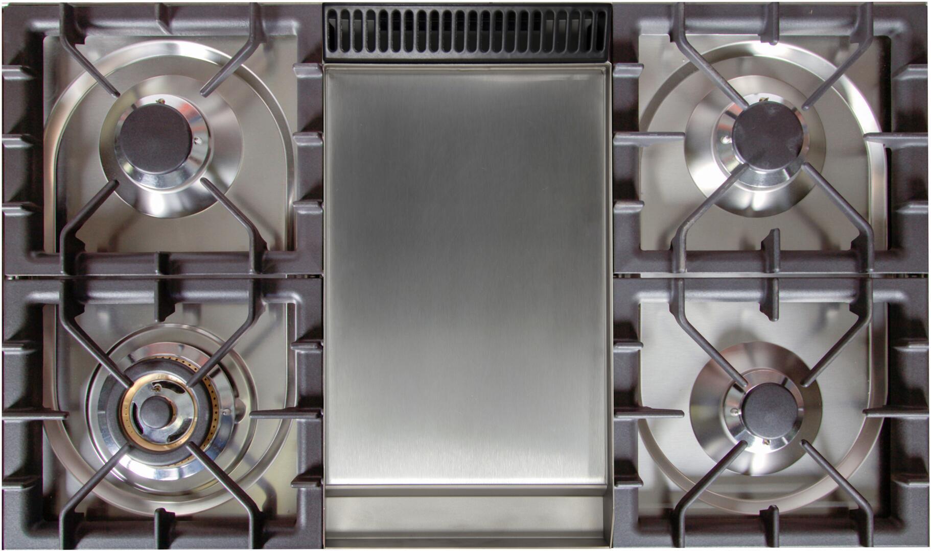 Ilve Nostalgie UPN90FDMPBL Freestanding Dual Fuel Range Blue, Cooktop with Griddle