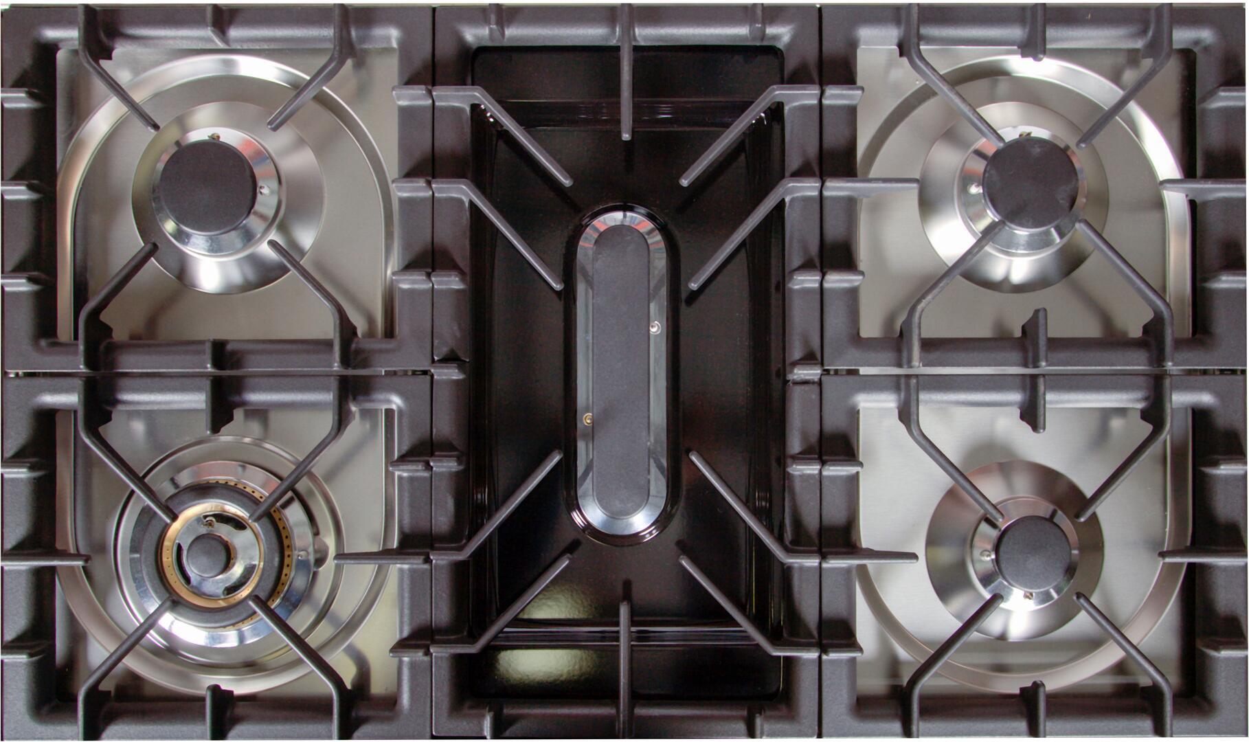 Ilve Nostalgie UPN90FDMPBL Freestanding Dual Fuel Range Blue, Cooktop with Griddle Removed