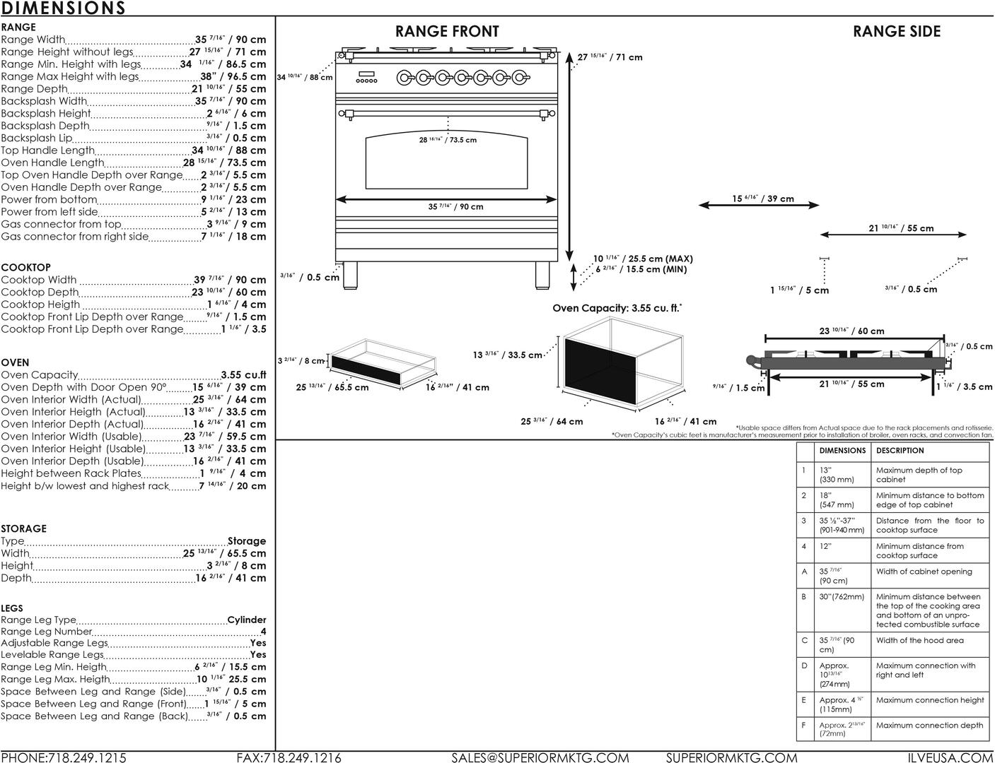 Ilve Nostalgie UPN90FDMPBL Freestanding Dual Fuel Range Blue, UPN90FDM Dimensions Guide